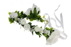 White flower garland with ribbon