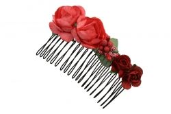 Hair comb with red flowers