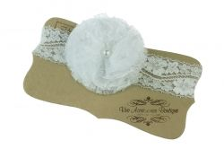 Elastic headband with tulle flower in white