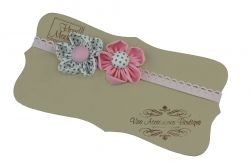 Elastic headband with fabric flower -Newborn Baby to Adult