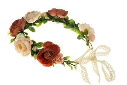 Flowers garland with ribbon