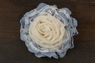 Denim flower brooch made of tulle and lace C-025