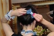 Denim crocodile hair clip