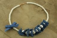 Denim necklace with pearls