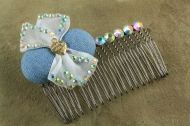 Metal Hair Comb-Denim
