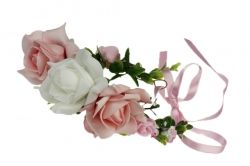 Pink and white flower garland