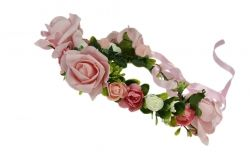 Pink flower garland with ribbon