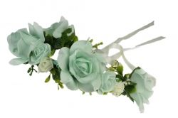 Green flower garland with ribbon